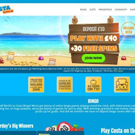 Cost of Bingo never costs a lot at Costa Bingo